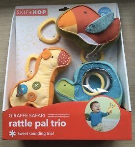 NEW Skip Hop Safari - Soft Fabric Rattle Trio Ages 0+ Giraffe & Tortoise & Bird