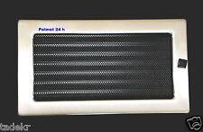 Kamingitter mit Jalousie, Edelstahl-gebürstet, Warmluftgitter ,17cmx30 cm