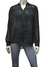 Womens Black High Low Size L Stripe Back Button Down Top Shirt New