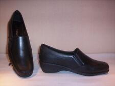 Soft Breeze scarpe classiche mocassini casual donna zeppa pelle neri shoes 38