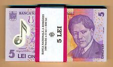 ROMANIA BUNDLE 100 x 5 Lei 2005 (2008) POLYMER Banknote P-118b UNC ROMANIAN lot