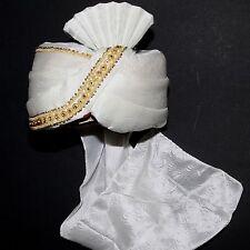 TURBANTE MAHARAJA CREMA BIANCO INDIA Bollywood Costume di Carnevale Sultano 2
