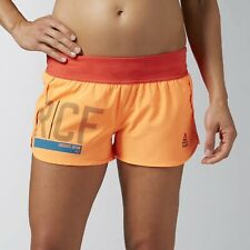 [AI9789] New Women's REEBOK Crossfit Knit Woven Graphic Shorts - MSRP $55 Orange