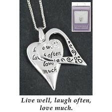 Equilibrium Silver Plated Necklace Live Laugh Love gift boxed
