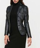 Women Black Leather Blazer Soft Lambskin Short Button-closure Style Flap Pocket