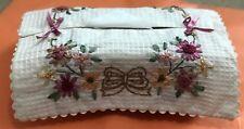 Vintage Handmade ribbon work Flower Emb 100%Cotton Tissue Box Cover Ivory