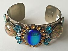 DANNIJO Turquoise Sliver Plated Brass Crystal Statement Cuff Bracelet USA $495