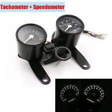 12V Dirt Bike Motorcycle Tachometer Speedometer Dual Gauge Kit Black Waterproof