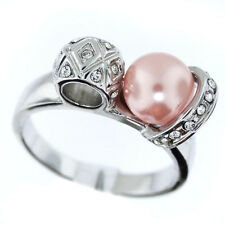 Ladies Simulated Pearl & Crystal Stones Silver Rhodium EP Ring Size 9