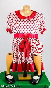 Baby Doll Dress Adult Unisex 4 Pc Red & Wht. Polka Dot Poly Satin Dress & Spats