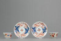 Super 18C Japanese Porcelain Cup Saucer Imari Flowers Antique