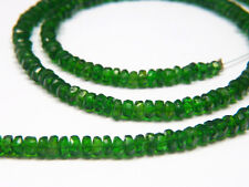 """Vivid Green Natural Chrome Diopside Faceted Rondelle Gemstone Beads 3mm - 7"""""""