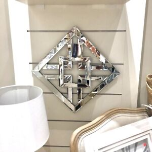 NEW Art Deco Elegant Classy Decorative Square Diamond Hanging Wall Decor Mirror