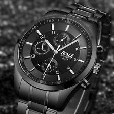 Armbanduhr Analog Rund Watch Herren Men Quartz Wasserdicht 3ATM Schwarz Silber