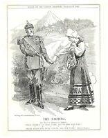 1905 Swedish King Oscar II Departs Norwegian Maiden Norway Punch Cartoon `16P