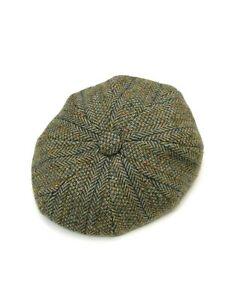 Kevin & Howlin Donegal Handwoven Tweed Newsboy Cap Green Melange size 58, VLD
