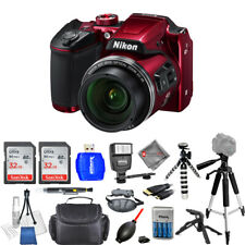 Nikon COOLPIX B500 16MP Digital Camera (Red) 64GB Bundle - AUTHORIZED DEALER