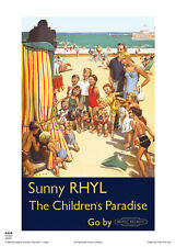 RHYL WALES VINTAGE RAILWAY TRAVEL HOLIDAY  ADVERTISING  POSTER