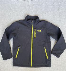The North Face Boys Full Zip Fleece Lined Jacket Dark Gray / Neon Yellow M 10/12