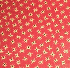 Antique Turkey Red Yellow Calico Cotton Fabric ~ Dolls Quilts Historic Clothing