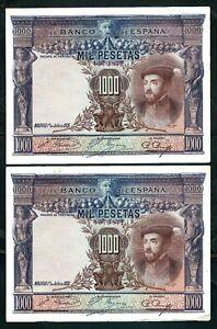 Spain (P70c) 1,000 Pesetas 1925 x 2 Consecutive VF+