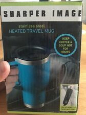 Sharper Image Stainless Steel Heated Travel Mug Plus Adapter Plug 14 OZ Hot Cold
