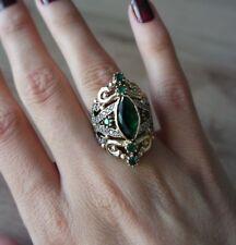 925 Sterling Silver Handmade Gemstone Turkish Emerald Ladies Ring Size 8,5