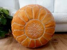 Leather light orange Pouf, white Stitching Moroccan handmade Unstuffed footstool