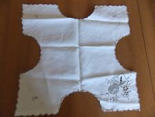 Vintage White Linen With Gray Embroidered Flowers Bread Basket Liner