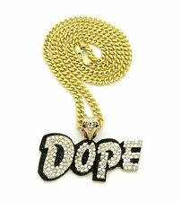 "ICED BUST DOWN GOLD PLATED CZ DOPE PENDANT 6mm 30"" CUBAN CHAIN HIP HOP NECKLACE"