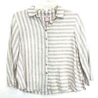 St. Tropez West Linen Flowy Blouse Sz S Ivory Beige Stripe BEACHY 3/4 Sleeve