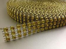 9 METRE WEDDING CAKE BLING TRIM DIAMONTE SPARKLY RIBBON  GOLD 3 ROWS/15MM