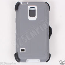 for Samsung Galaxy S5 Defender Gray/White Case with Clip&Screen Protector