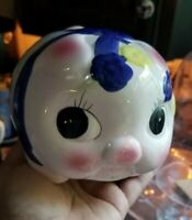 Vintage Mid Century Large Pig Piggy Bank Ceramic Big Eyes Hand Painted