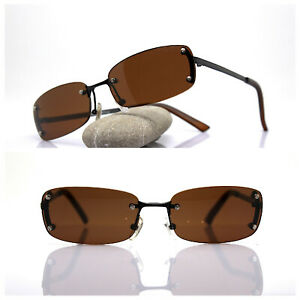 Sunglasses Men Woman Rectangular Without Frames Black Brown Vintage 90