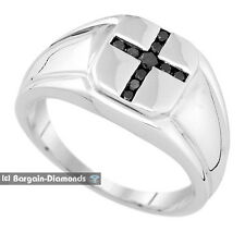 men black diamond .25-carat cross wedding ring 925 white band anniversary