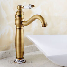 Vintage Brass Single Handle Swivel Spout Mixer Tap Bathroom Sink Basin Faucet