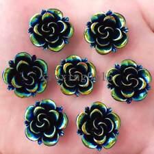 New 10pcs 20mm Resin 3D black flower Flatback stone scrapbook Wedding button DIY