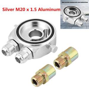 Universal Silver Oil Filter Sandwich Adapter Plate 1/8 NPT Oil Cooler 3/4-16 UNF
