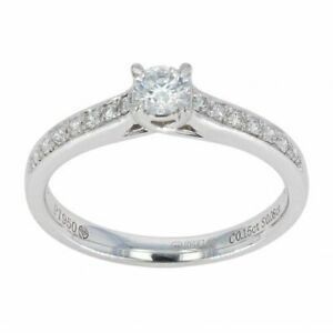 Womens - Platinum 0.23cts Diamond Solitaire Shoulders Ring - F.5
