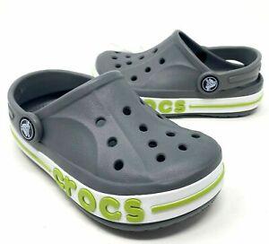 Crocs Bayaband Clog Gray/Volt Green Boys Size 8, 9, 11, 12, 13, J1 NEW