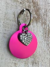 Personalized PET ID TAGS  ENGRAVED DOG CAT NAME TAG Pink circle W/ Bling Heart