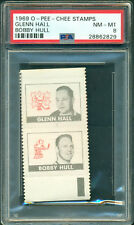 1969 70 OPC STAMPS GLENN HALL - BOBBY HULL PSA 8 NM-MT