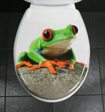 Toilet Seat Novelty Fabulous Funky Frog Duroplast c/w SS Hinges