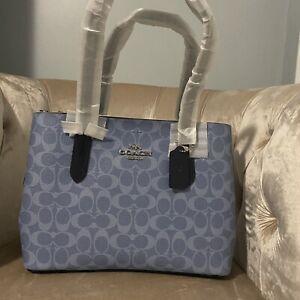 Coach 48735 Signature Avenue Denim Blue Midnight Carryall Satchel Bag Handbag