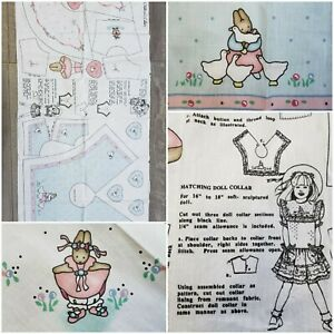 Vintage Daisy Kingdom Ballerina Rose Goose Bunny Children's & Doll Collar Panels