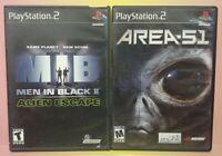 2 Game Lot PS2 Playstation 2 Area 51 + Men in Black II 2 Games Complete Bundle