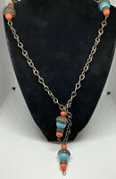 Early Extra Long Miriam Haskell Blue/Orange Peking Art Glass Bead Necklace