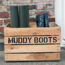 SHOE RACK / BOX / STAND - Hand stenciled Muddy Boots Vintage Wooden Welly Crate