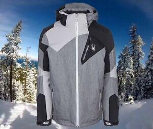 Spyder Men's Leader Small Gray Herringbone Waterproof Insulated Ski Jacket Nwt